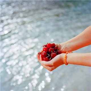 Hands holding cherries photo by Roy Mehta